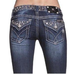 Miss Me Jeans Bootcut Bling Studs Dark Wash Sz 27